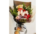 Pink & Red Roses With Bear